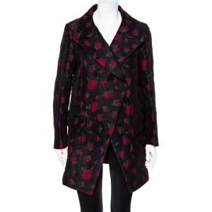 Yves Saint Laurent Black Rose Jacquard Double Breasted Oversized Coat S