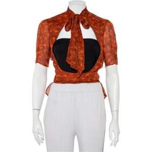 Yves Saint Laurent Brown Fingerprint Silk Neck Tie Detail Shrug M