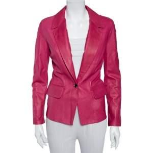 Yves Saint Laurent Pink Leather Button Front Blazer S