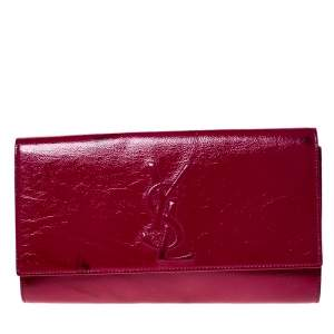 Saint Laurent Paris Hot Pink Patent Leather Belle De Jour Flap Clutch