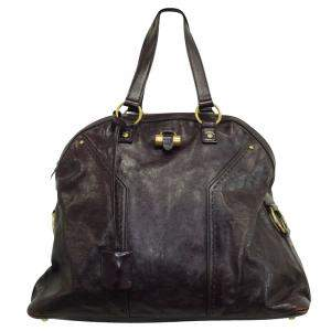 Yves Saint Laurent Dark Purple Leather Muse Tote Bag