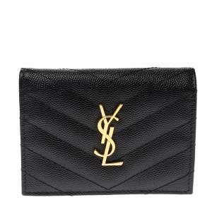 Saint Laurent Paris Black Matelasse Leather Monogram Compact Wallet