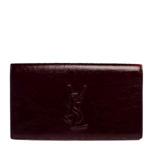 Yves Saint Laurent Burgundy Patent Leather Belle De Jour Clutch