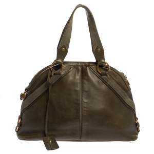 Yves Saint Laurent Olive Green Leather Medium Satchel