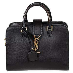 Saint Laurent Black Leather Monogram Baby Cabas Bag