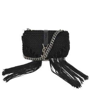 Saint Laurent Black Leather Crochet Lace Classic Baby Monogram Shoulder Bag