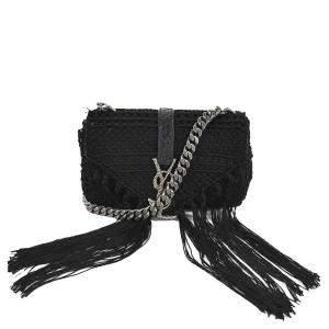 Saint Laurent Black Leather Crochet Lace Classic Baby Monogram Shoulder Bag