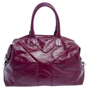 حقيبة يد إيف سان لوران جلد لامعة بنفسجية