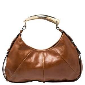 حقيبة هوبو سان لوران باريس مومباسا جلد بني