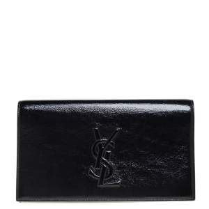 Yves Saint Laurent Black Patent Leather Belle De Jour Flap Clutch