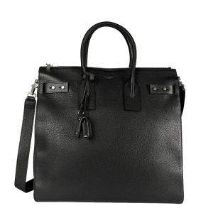 Yves Saint Laurent Black Grained Leather Sac De Jour North/South Tote