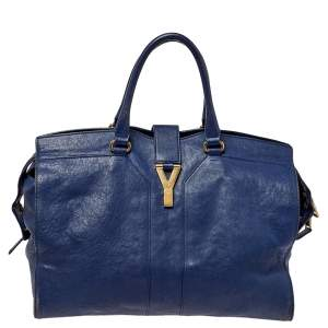 Yves Saint Laurent Navy Blue Leather Large Cabas Cabas Y-Ligne Tote