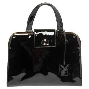 Yves Saint Laurent Black Patent Leather Large Uptown Satchel