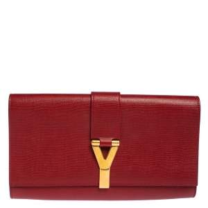 Saint Laurent Red Leather Y-Ligne Clutch