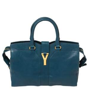 Yves Saint Laurent Paris Teal Blue Leather Large Y Cabas Chyc Tote