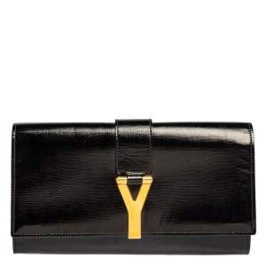 Yves Saint Laurent Black Patent Leather Y-Ligne Clutch