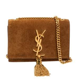 Saint Laurent Tan Suede Small Kate Tassel Chain Shoulder Bag