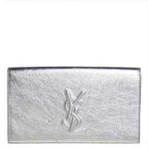 Yves Saint Laurent Silver Patent Leather Belle De Jour Clutch
