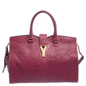 Yves Saint Laurent Dark Fuchsia Leather Medium Cabas Y-Ligne Tote