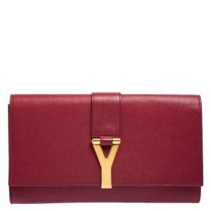 Yves Saint Laurent Red Leather Y-Ligne Clutch