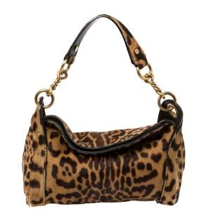 Yves Saint Laurent Brown Leopard Print Calfhair Chain Shoulder Bag