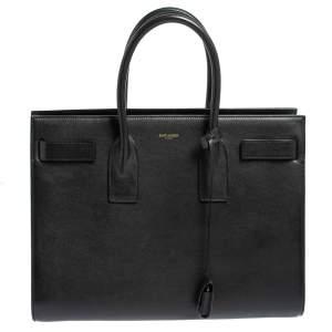حقيبة يد سان لوران باريس ساك دو جور متوسطة جلد أسود