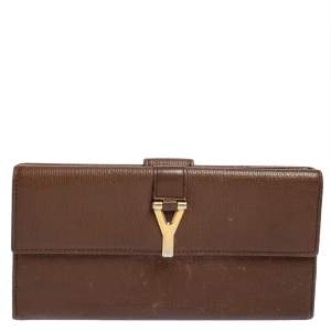 Yves Saint Laurent Brown Leather Y Ligne Flap Continental Wallet