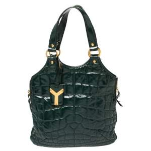 Yves Saint Laurent Green Croc Embossed Patent Leather Tribute Tote