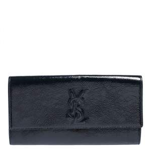 Yves Saint Laurent Dark Teal Patent Leather Belle De Jour Flap Clutch