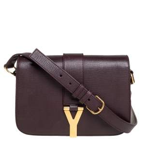 Yves Saint Laurent Dark Burgundy Leather Medium Chyc Flap Bag