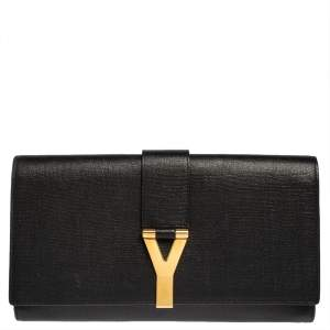 Yves Saint Laurent Black Leather Y-Ligne Clutch
