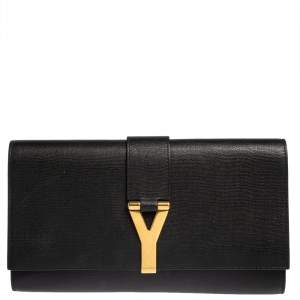 Yves Saint Laurent Black Texured Leather Y-Ligne Clutch