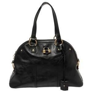 حقيبة ايف سان لوران ميوز كبيرة جلد أسود