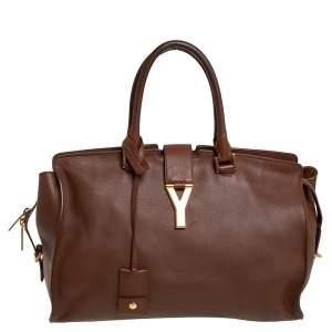 Yves Saint Laurent Brown Leather Medium Cabas Y-Ligne Tote