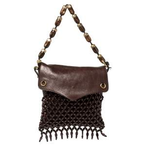 Yves Saint Laurent Mocha Brown Leather and Suede Beaded Fringed Shoulder Bag