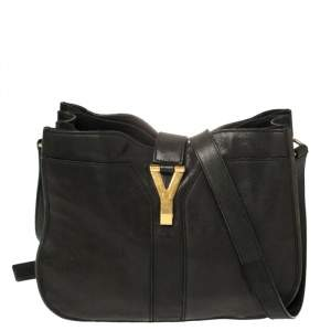 Yves Saint Laurent Black Leather Medium Cabas Chyc Shoulder Bag
