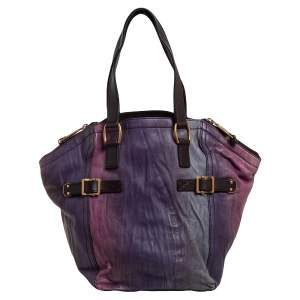 Yves Saint Laurent Multicolor Crease Leather Small Downtown Tote