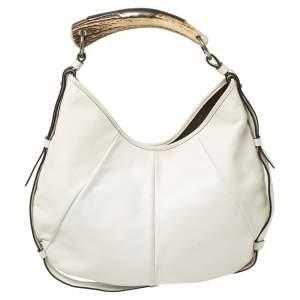 Yves Saint Laurent White Leather Mombasa Hobo
