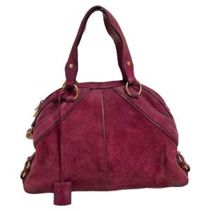 Yves Saint Laurent Magenta Suede And Leather Large Muse Bag