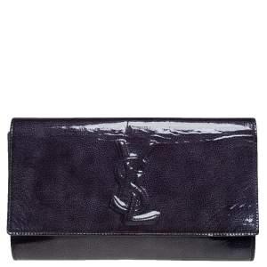 Yves Saint Laurent Blue Patent Leather Belle De Jour Flap Clutch