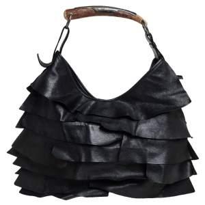 Yves Saint Laurent Black Leather St. Tropez Mombasa Hobo