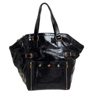 Yves Saint Laurent Black Patent Leather Large Downtown Tote