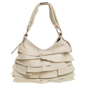 حقيبة هوبو إيف سان لوران سان تروباز جلد أوف وايت صغيرة