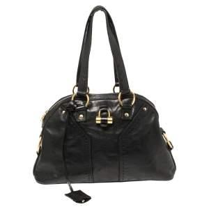 Yves Saint Laurent Black Leather Medium Muse Satchel