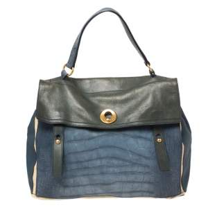 Yves Saint Laurent Tri Color Croc Embossed Leather and Canvas Large Muse Two Top Handle Bag