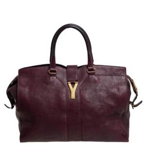 Yves Saint Laurent Burgundy Leather Large Cabas Chyc Tote