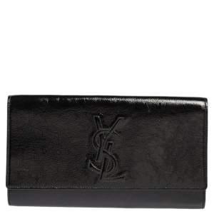 حقيبة كلتش سان لوران باريس بيلي دي جور بقلاب جلد لامع أسود