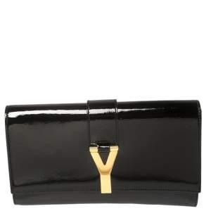 Yves Saint Laurent Black Patent Leather Y-Ligne Clutch