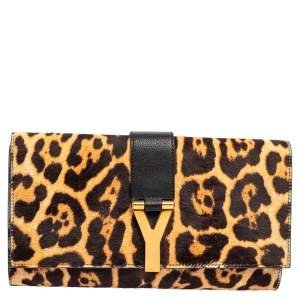 Yves Saint Laurent Brown/Black Leopard Print Calf Hair and Leather Chyc Clutch