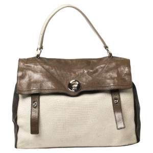Yves Saint Laurent Tricolor Croc Embossed Leather and Suede Large Muse Two Top Handle Bag